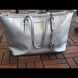 Silver leather Michael Kors bag